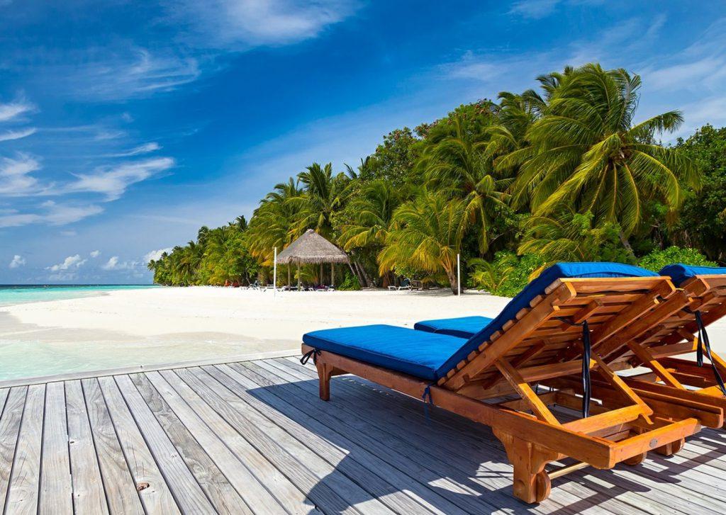 lounge chairs on man made beach