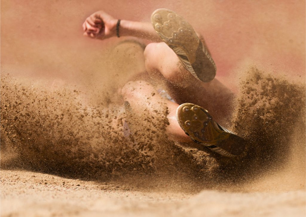 long jumper in sand pit