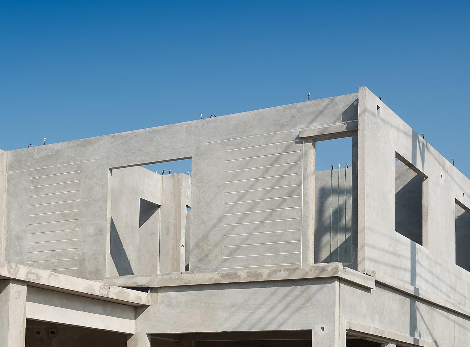 home built of architectural precast concrete