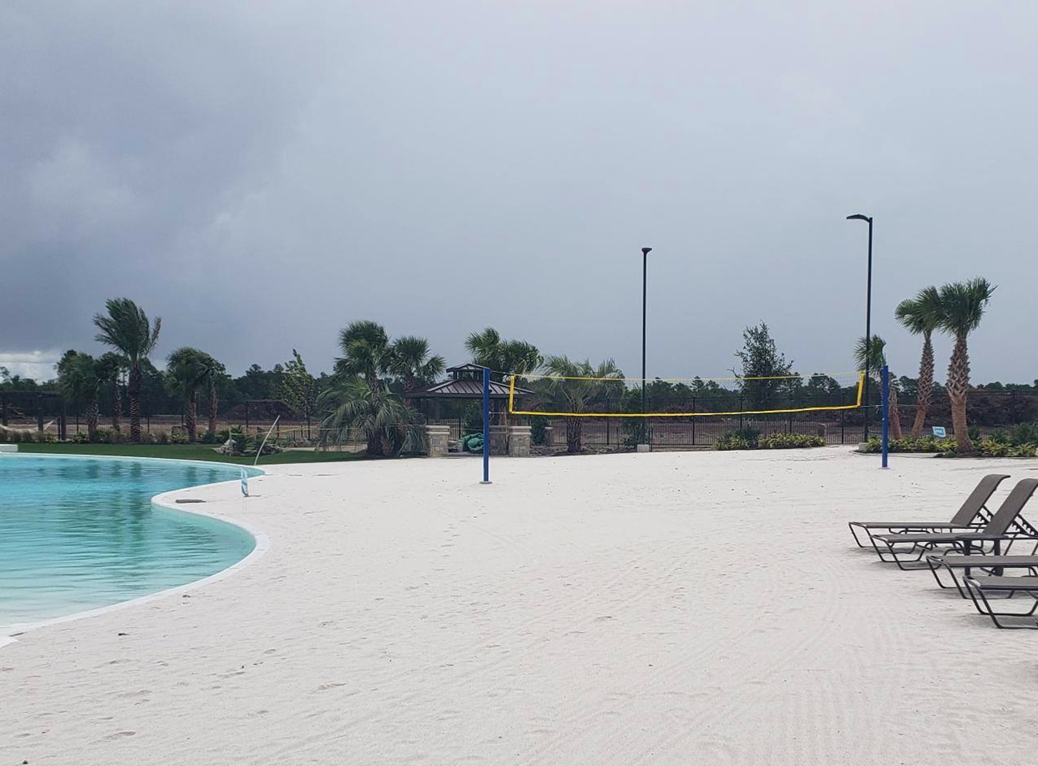 sand volleyball court on man made beach