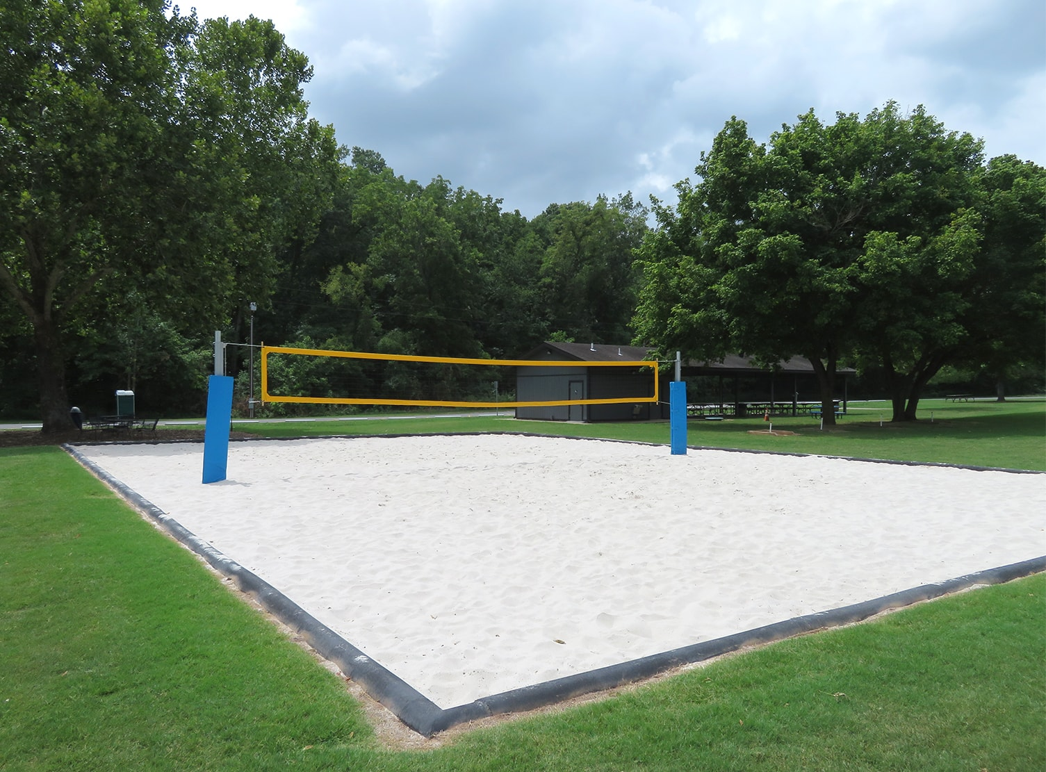 outdoor sand volleyball court in the park