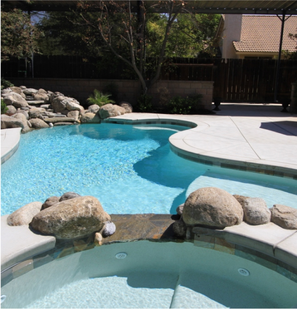 stones surrounding curved pool