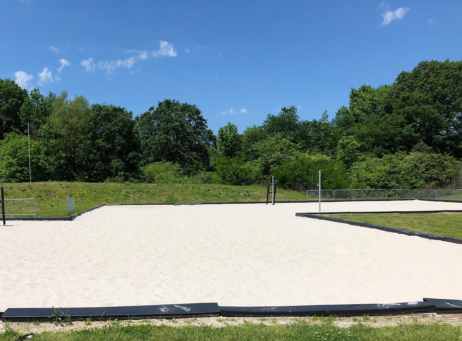 sand volleyball court in field