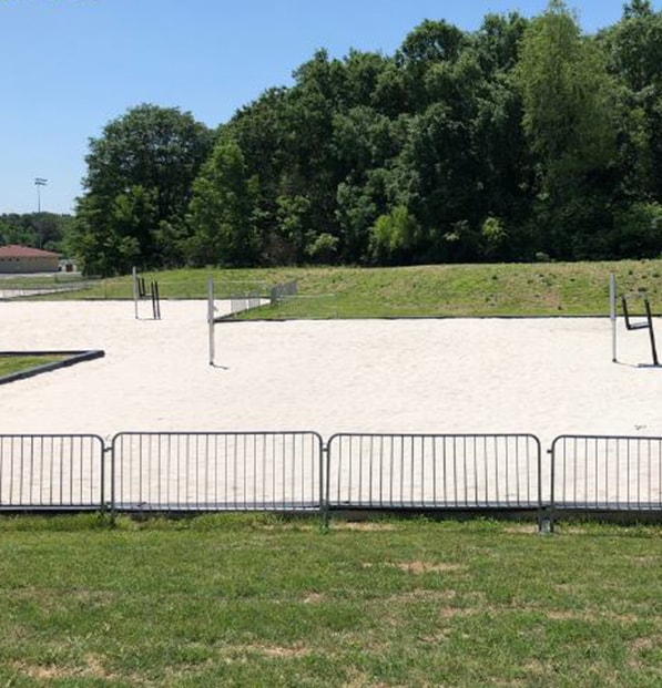 sand volleyball court at high school