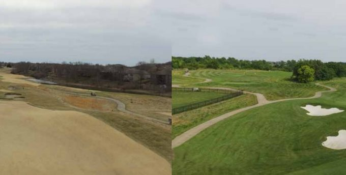 before and after hole 17 at prairie highlands