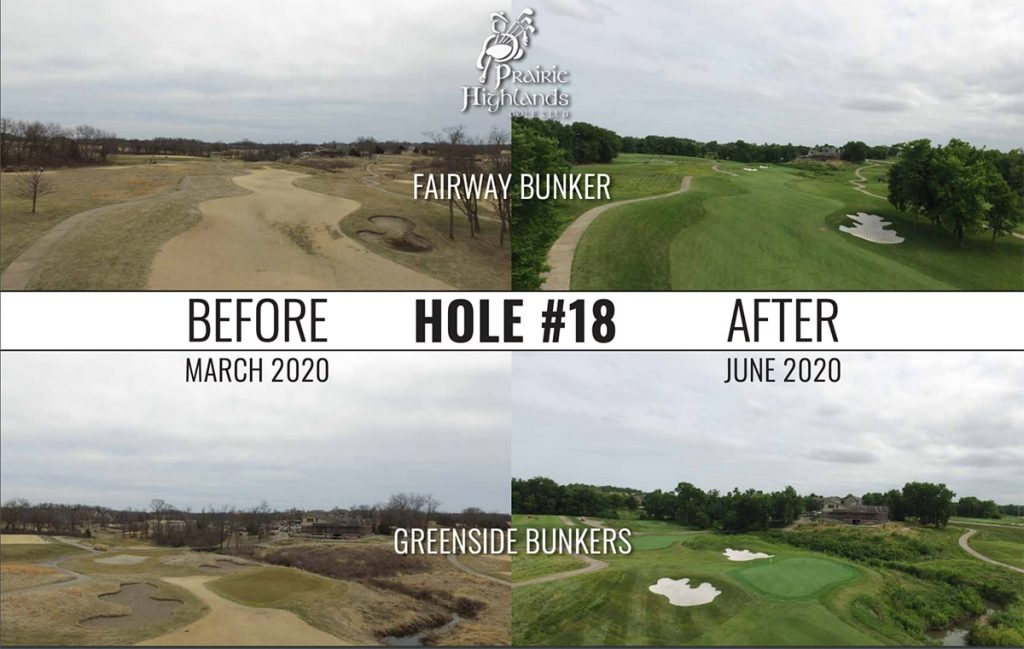 hole 18 on prairie highlands golf course before and after