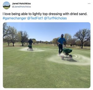 tweet by Golf Course Superintendent at Wichita Falls Country Club, Jared Hotchkiss, about premier sand