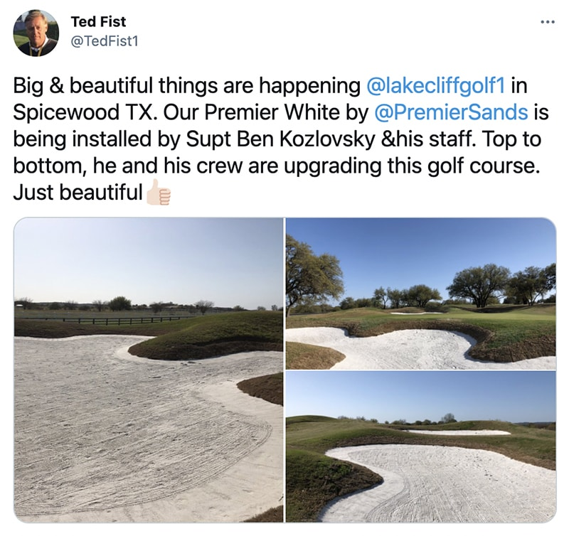 Premier White sand installation at Lakecliff Golf Club in Spicewood, TX